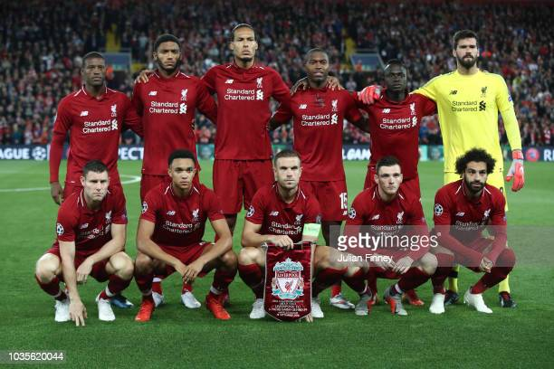 Liverpool line up prior to the Group C match of the UEFA Champions League between Liverpool and Paris SaintGermain at Anfield on September 18 2018 in...