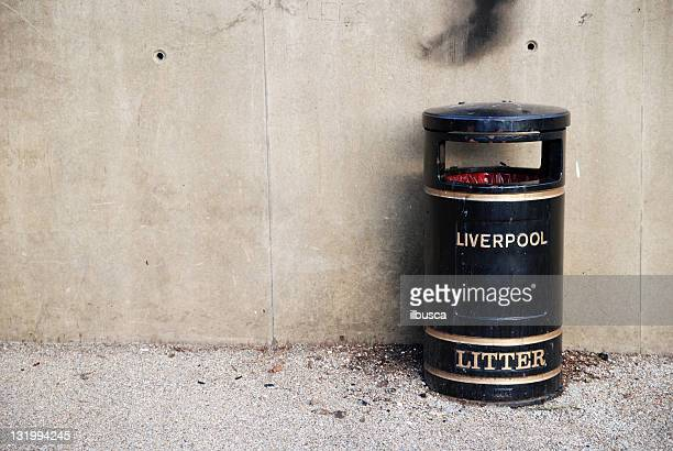 Liverpool litter bin with copy space