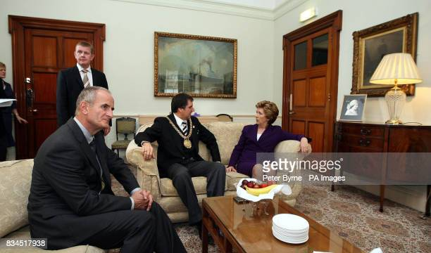 Liverpool Lord Mayor Steve Rotheram greets the Irish President Mary McAleese at the Town Hall in Liverpool with her husband Dr Martin McAleese and...