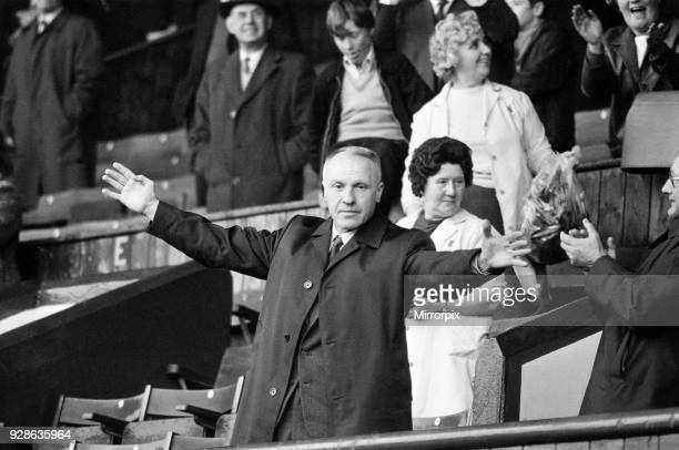 Liverpool manager Bill Shankly acknowledges the cheers of the Kop ahead of his side's league match against Southampton at Anfield 1st May 1971