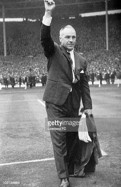 Liverpool manager Bill Shankly acknowledges the Liverpool supporters after his teams victory in the FA Cup Final between Liverpool and Leeds United...