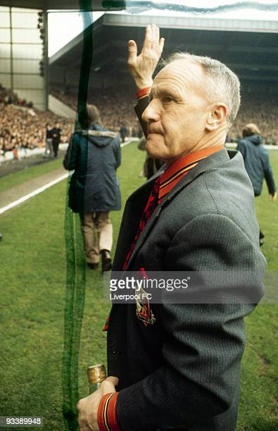 Liverpool manager Bill Shankly acknowledges the Liverpool supporters after he is declared the Manager of the Year award prior to the Football League...