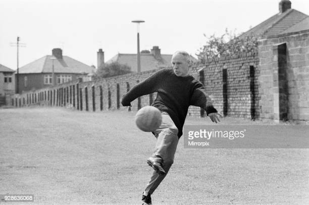 Liverpool manager Bill Shankly aged 57 keeps himself fit by practicing his football skills at the club's training ground 2nd June 1971