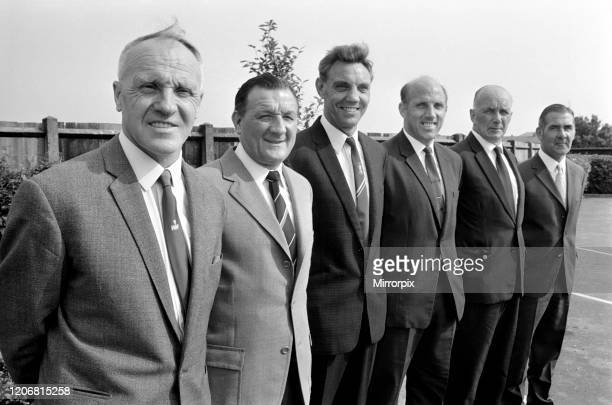Liverpool manager Bill Shankly and his new team of backroom staff : Bob Paisley, assistant manager; Joe Fagan, 1st team trainer; Ron Moran, 2nd team...