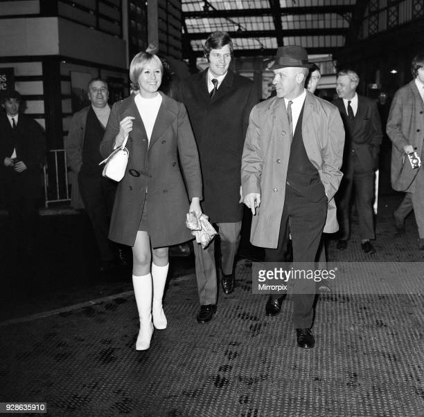 Liverpool manager Bill Shankly at Lime Street Station to greet new signing John Toshack from Cardiff City who arrived with his wife Susan 11th...