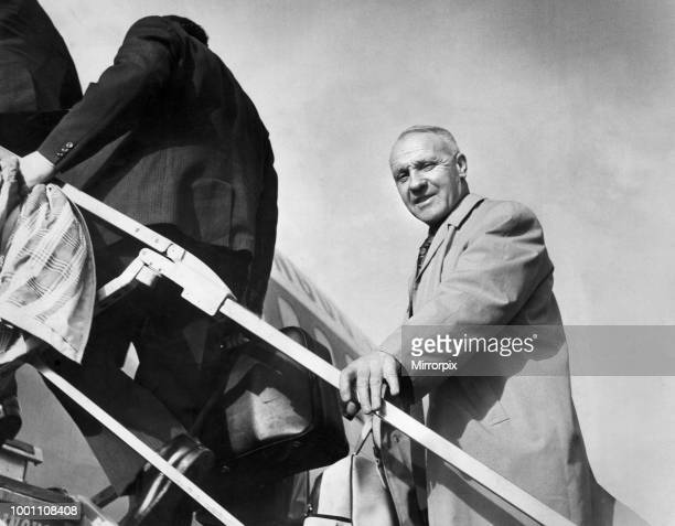 Liverpool manager Bill Shankly boards the plane at Speke Airport Liverpool for the flight to Yugoslavia where his team will take on Red Star Belgrade...
