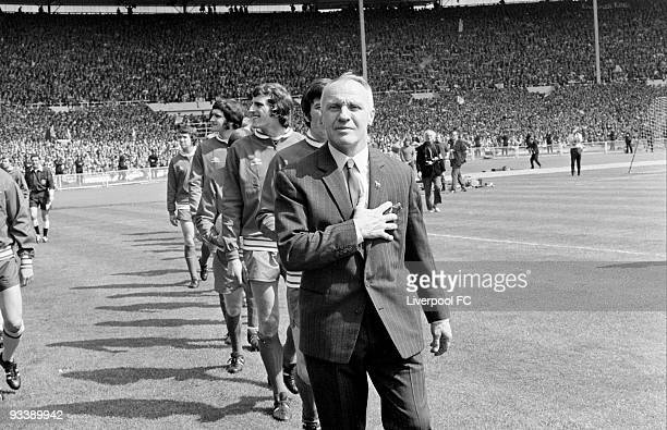 Liverpool manager Bill Shankly leads his team out as they walk out before the FA Cup Final between Liverpool and Arsenal held on May 8 1971 at...
