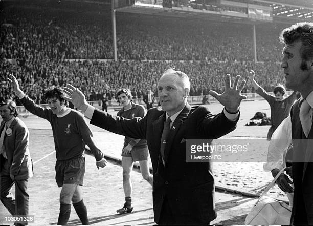 Liverpool manager Bill Shankly proudly acknowledges the supporters after defeat in the FA Cup Final between Liverpool and Arsenal held on May 8 1971...