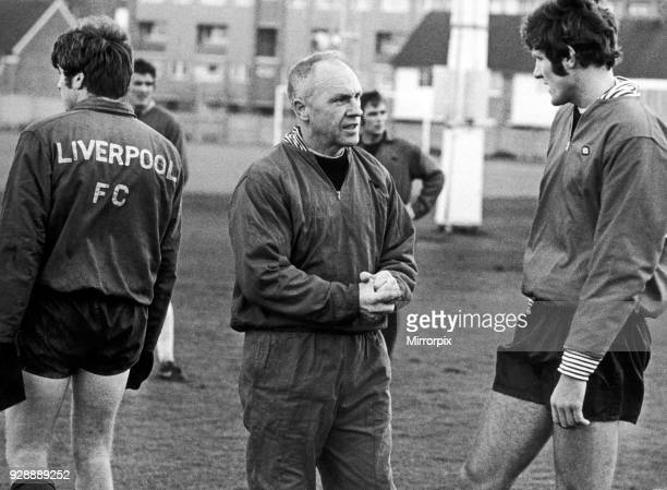 Liverpool manager Bill Shankly speaking with John Toshack during a training session at Melwood, 24th March 1974.