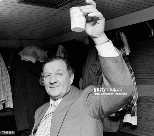 Liverpool manager Bob Paisley celebrates their League Championship success in the dressing room after the Football League Division One match between...