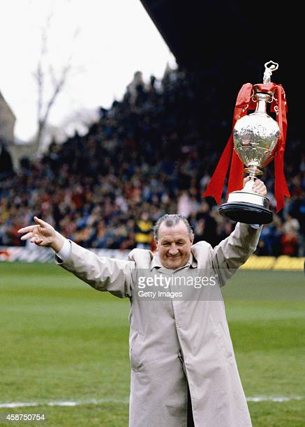 Liverpool manager Bob Paisley holds the League Championship title as the club pick up the trophy after winning the league in his last ever season in...