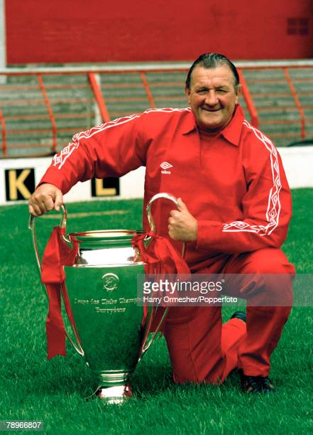 Liverpool manager Bob Paisley with the European Cup at Anfield in Liverpool, England, circa August 1978.