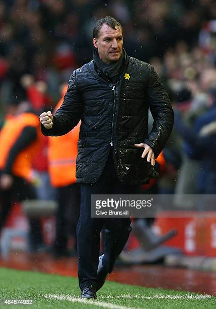 Liverpool manager Brendan Rodgers celebrates his teams 21 victory at the final whistle during the Barclays Premier League match between Liverpool and...