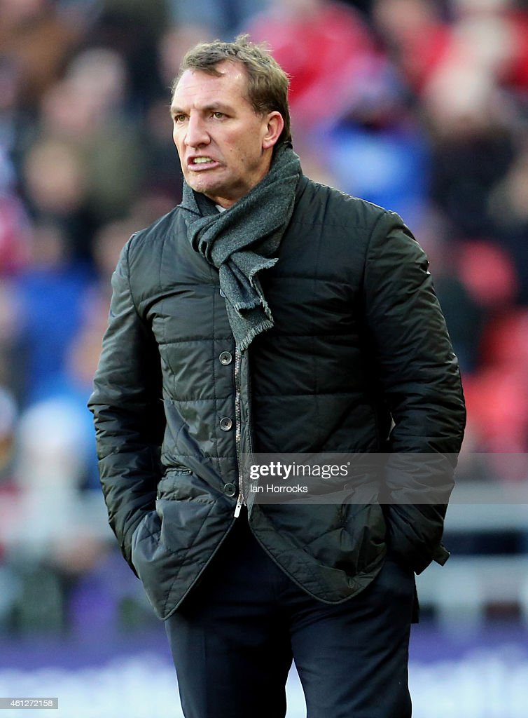 Liverpool manager Brendan Rodgers during the Barclays Premier League match between Sunderland and Liverpool at the Stadium of Light on January 10, 2015 in Sunderland, England.