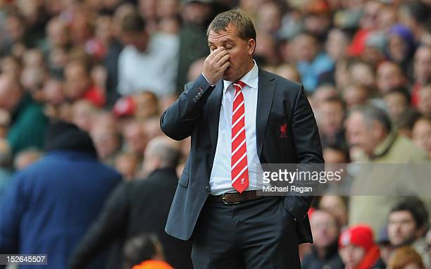 Liverpool manager Brendan Rodgers looks dejected during the Barclays Premier League match between Liverpool and Manchester United at Anfield on...