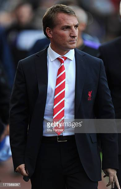 Liverpool manager Brendan Rodgers looks on before the Barclays Premier League match between Aston Villa and Liverpool at Villa Park on August 24 2013...
