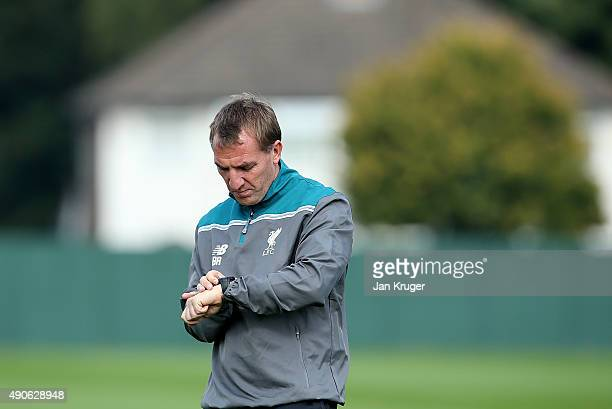 Liverpool Manager Brendan Rodgers looks on during a Liverpool FC training session at Melwood Training Ground on September 30 2015 in Liverpool England