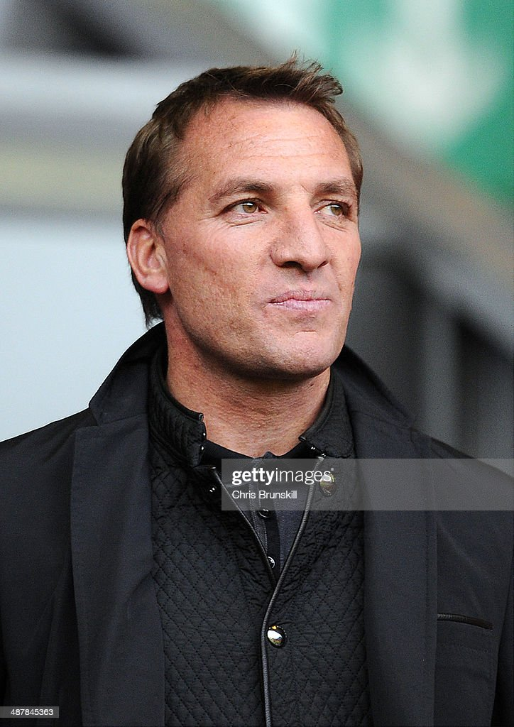 Liverpool manager Brendan Rodgers looks on from the stand during the Barclays U21 Premier League Semi Final match between Liverpool and Manchester United at Anfield on May 02, 2014 in Liverpool, England.