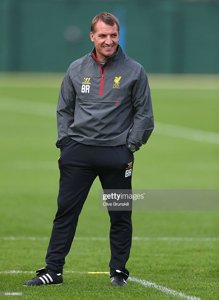 Liverpool manager Brendan Rodgers looks on in good spirits during a training session ahead of their UEFA Champions League group B match against PFC Ludogorets on September 15, 2014 in Liverpool, United Kingdom.