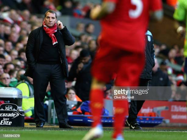 Liverpool manager Brendan Rodgers shows his dejection during the Barclays Premier League match between Liverpool and Aston Villa at Anfield on...