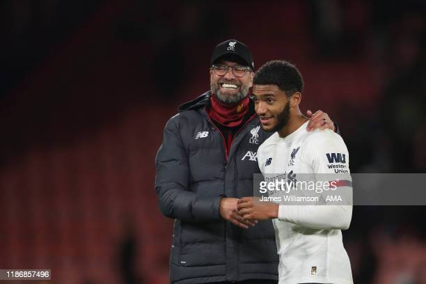 Liverpool manager / head coach Jurgen Klopp and Joe Gomez of Liverpool at full time the Premier League match between AFC Bournemouth and Liverpool FC...