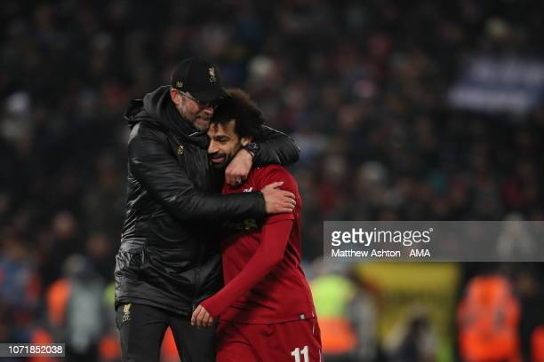 Liverpool manager head coach Jurgen Klopp and Mohamed Salah of Liverpool during the UEFA Champions League Group C match between Liverpool and SSC...