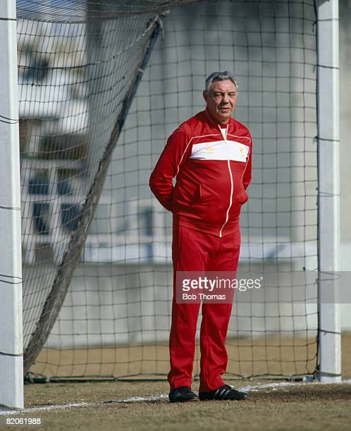 Liverpool Manager Joe Fagan watching their training session prior to the World Club Championship match against Independiente in Tokyo December 1984