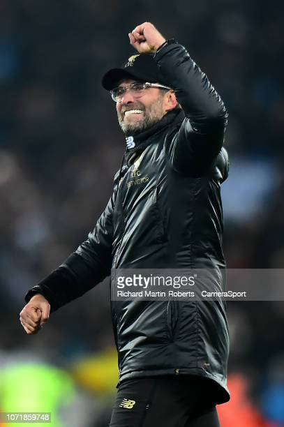 Liverpool manager Jürgen Klopp celebrates at the end of the match during the UEFA Champions League Group C match between Liverpool and SSC Napoli at...