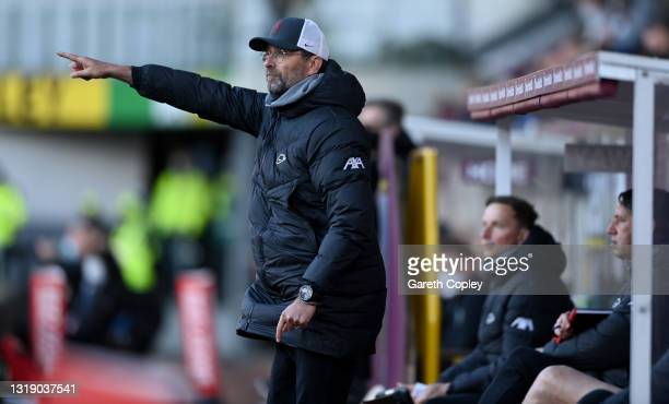Liverpool manager Jürgen Klopp during the Premier League match between Burnley and Liverpool at Turf Moor on May 19, 2021 in Burnley, England.