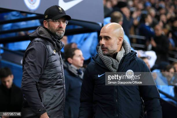 Liverpool manager Jurgen Klopp and Man City manager Pep Guardiola meet ahead of the Premier League match between Manchester City and Liverpool at the...