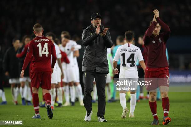 Liverpool manager Jurgen Klopp applauds fans during the Group C match of the UEFA Champions League between Paris SaintGermain and Liverpool at Parc...