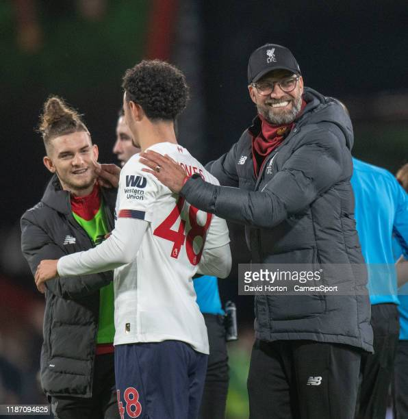 Liverpool manager Jurgen Klopp applauds Liverpool's Curtis Jones at the final whistle during the Premier League match between AFC Bournemouth and...