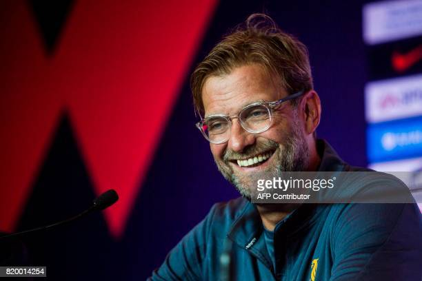 Liverpool manager Jurgen Klopp attends a press conference of the Premier League Asia Trophy football tournament in Hong Kong on July 21 2017...