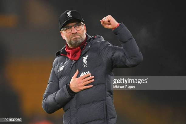 Liverpool manager Jurgen Klopp celebrates after the Premier League match between Wolverhampton Wanderers and Liverpool FC at Molineux on January 23,...