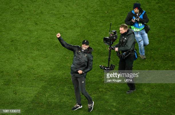 Liverpool manager Jurgen Klopp celebrates at the final whistle during the UEFA Champions League Group C match between Liverpool and SSC Napoli at...