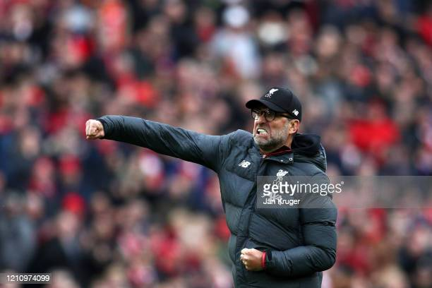 Liverpool manager Jurgen Klopp celebrates at the final whistle during the Premier League match between Liverpool FC and AFC Bournemouth at Anfield on...