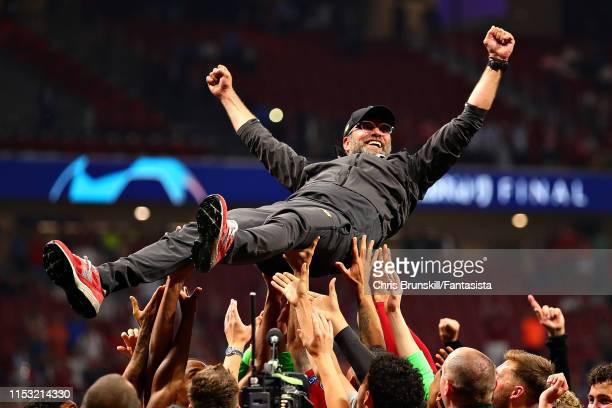 Liverpool manager Jurgen Klopp celebrates following the UEFA Champions League Final between Tottenham Hotspur and Liverpool at Estadio Wanda...
