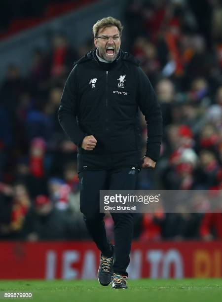 Liverpool manager Jurgen Klopp celebrates his teams victory at the final whistle during the Premier League match between Liverpool and Leicester City...