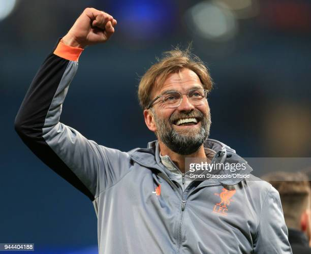 Liverpool manager Jurgen Klopp celebrates their victory during the UEFA Champions League Quarter Final Second Leg match between Manchester City and...