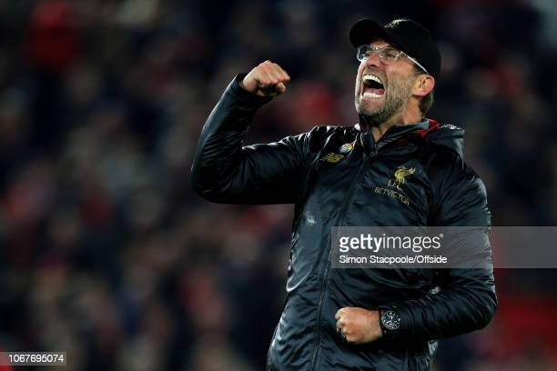 Liverpool manager Jurgen Klopp celebrates victory after the Premier League match between Liverpool and Everton at Anfield on December 2 2018 in...