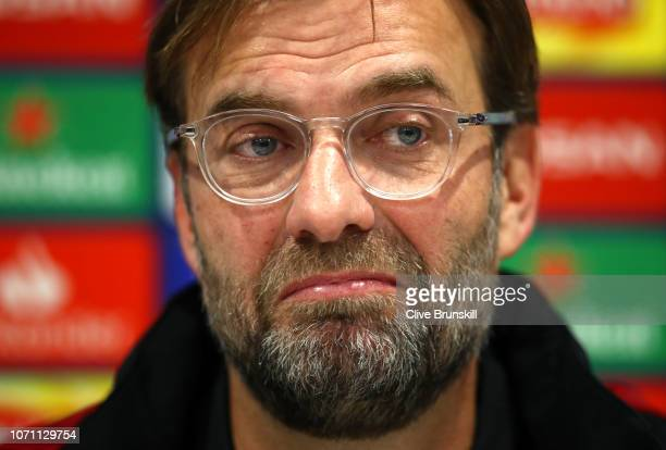 Liverpool manager Jurgen Klopp during a Liverpool press conference ahead of their UEFA Champions League Group C match against SSC Napoli at Melwood...