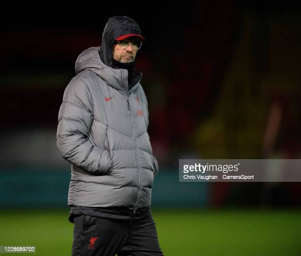 Liverpool manager Jurgen Klopp during the prematch warmup prior to the Carabao Cup Third Round match between Lincoln City and Liverpool at LNER...
