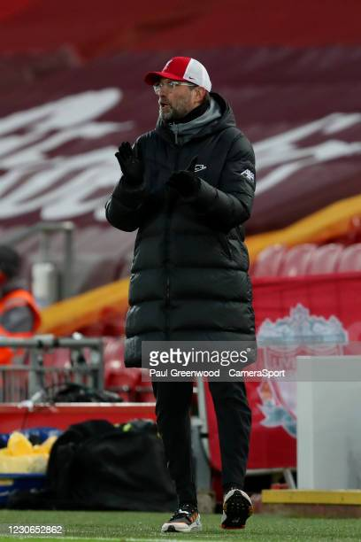 Liverpool manager Jurgen Klopp during the Premier League match between Liverpool and Manchester United at Anfield on January 17, 2021 in Liverpool,...