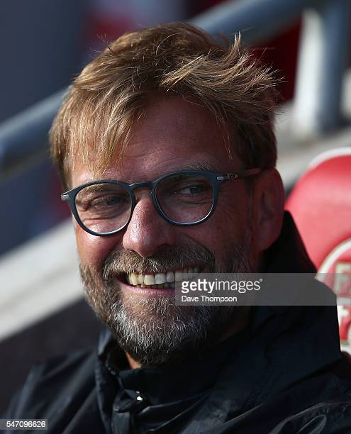 Liverpool manager Jurgen Klopp during the PreSeason Friendly match between Fleetwood Town and Liverpool at Highbury Stadium on July 13 2016 in...