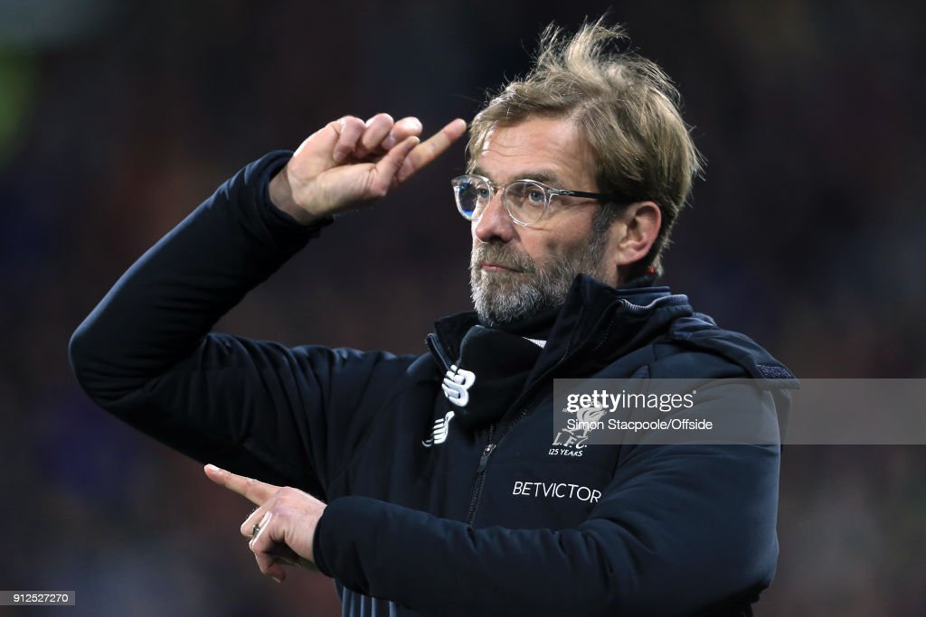 Liverpool manager Jurgen Klopp gestures during the Premier League match between Huddersfield Town and Liverpool at the John Smith's Stadium on January 30, 2018 in Huddersfield, England.