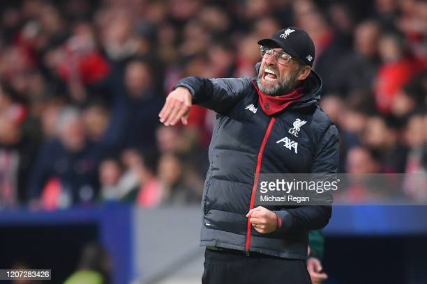 Liverpool manager Jurgen Klopp gestures during the UEFA Champions League round of 16 first leg match between Atletico Madrid and Liverpool FC at...