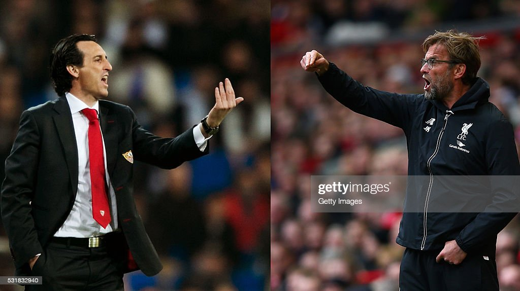 PHOTO - Image Numbers 161229134 (L) and 520303246) In this composite image a comparison has been made between Head coach Unay Emeri of Sevilla FC and Liverpool manager Jurgen Klopp. Liverpool FC and Sevilla FC meet in the 2016 Europa League Cup Final at the St Jakob Park Stadium on May 18, 2016 in Basel,Switzerland. LIVERPOOL, ENGLAND - APRIL 10: Liverpool manager Jurgen Klopp gives his team orders during the Barclays Premier League match between Liverpool and Stoke City at Anfield on April 10, 2016 in Liverpool, England.