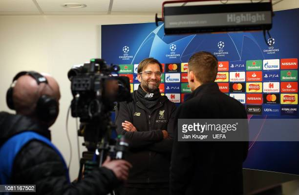 Liverpool manager Jurgen Klopp is interviewed after the final whistle during the UEFA Champions League Group C match between Liverpool and SSC Napoli...