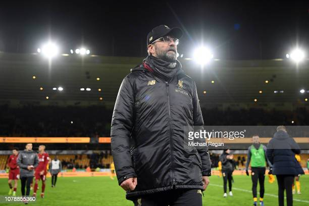 Liverpool Manager Jurgen Klopp leaves the pitch after his side lost the Emirates FA Cup Third Round match between Wolverhampton Wanderers and...