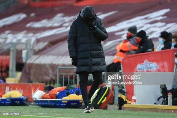 Liverpool manager Jurgen Klopp looks dejected after their 4-1 defeat during the Premier League match between Liverpool and Manchester City at Anfield...
